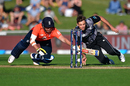 Jonny Bairstow dives for his crease as Tim Southee underarms the ball, New Zealand v England, 4th T20I, Napier, November 8, 2019
