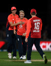 Matt Parkinson celebrates with Pat Brown and Eoin Morgan after dismissing Daryl Mitchell, New Zealand v England, 4th T20I, Napier, November 8, 2019