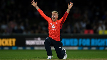 Matt Parkinson successfully appeals for the wicket of Tim Southee