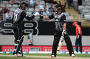 Martin Guptill and Colin Munro celebrate a boundary, New Zealand v England, 5th T20I, Eden Park, November 10, 2019