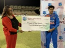Shafali Verma receives the Player-of-the-Match award from former West Indies captain Verena Felicien, West Indies v India, 1st T20I, St Lucia, November 10, 2019