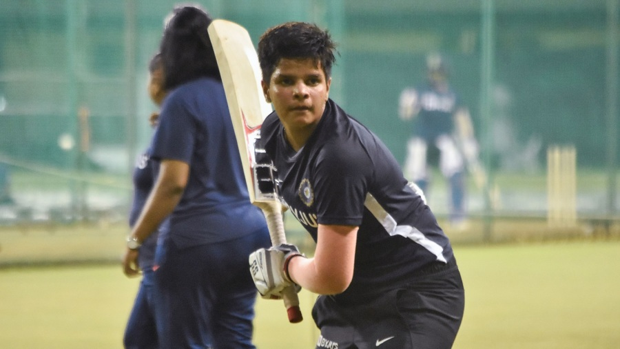 Shafali Verma goes through her routine at training