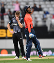 Chris Jordan celebrates after levelling the scores, New Zealand v England, 5th T20I, Auckland, November 11, 2019