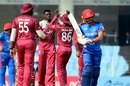 Alzarri Joseph celebrates the wicket of Ibrahim Zadran, Afghanistan v West Indies, 3rd ODI, Lucknow, November 11, 2019