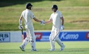 Dom Sibley shakes hands with Zak Crawley in the tour game. Both men got hundreds, New Zealand XI v England XI, Cobham Oval, Whangarei, Day 1, November 12, 2019
