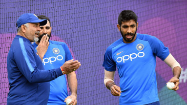 India bowling coach Bharat Arun with Mohammed Shami and Jasprit Bumrah
