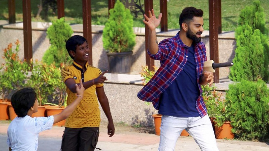 Virat Kohli shoots a commercial in Indore before the first Test