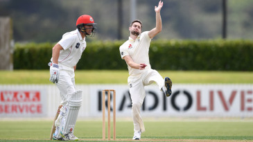 Chris Woakes bowls during England's tour game at Cobham Oval