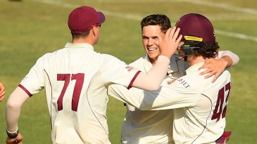 Mitchell Swepson is congratulated by his team-mates