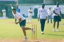 Kuldeep Yadav in his follow through, India v Bangladesh, 1st Test, Indore, November 13, 2011