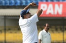 Ravi Shastri bowls in the nets, Indore, November 13, 2011