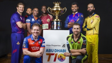 The eight captains pose after arriving for T10