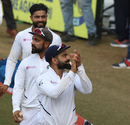 Virat Kohli, Ajinkya Rahane and Ravindra Jadeja acknowledge the crowd's support, India v Bangladesh, 1st Test, Indore, 3rd day, November 16, 2019