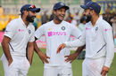 Mohammed Shami, Mayank Agarwal and Virat Kohli share a light moment, India v Bangladesh, 1st Test, Indore, 3rd day, November 16, 2019