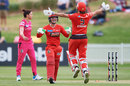 Courtney Webb and Molly Strano celebrate Melbourne Renegades' last-ball victory, Sydney Sixers v Melbourne Renegades, WBBL, Drummoyne Oval, November 17, 2019