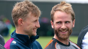 Joe Root and Kane Williamson share a laugh on the eve of the first Test