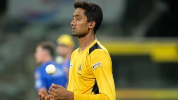 R Sai Kishore prepares to bowl at the Chennai Super Kings nets