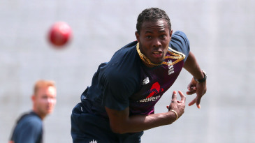 Jofra Archer bowls during a practice session at Bay Oval in Mount Maunganui