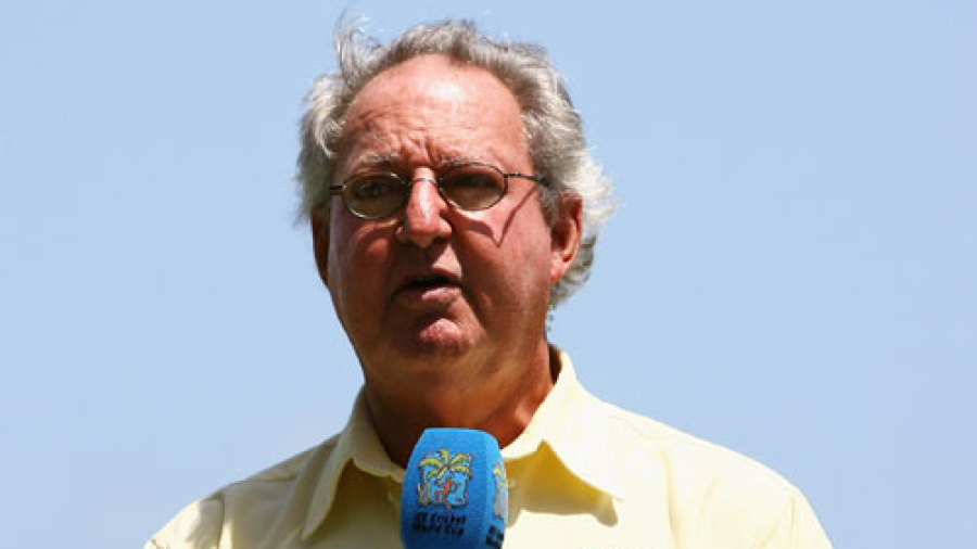Tony Cozier at a post-match presentation