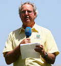Tony Cozier at a post-match presentation, Barbados, April 21, 2007