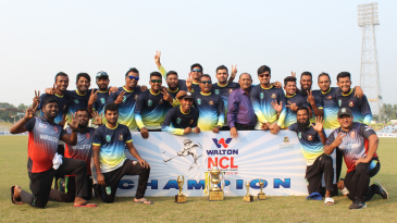 Khulna Division pose with the winners' trophy