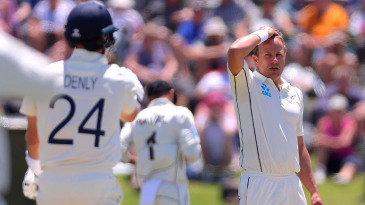 Neil Wagner looks on in frustration after beating Joe Denly