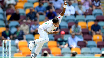 Naseem Shah sends down his first delivery in international cricket