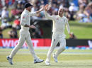 Jack Leach celebrates with Ben Stokes after dismissing Jeet Raval, New Zealand v England, 1st Test, Mount Maunganui, 2nd day, November 22, 2019