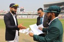 Virat Kohli and Mominul Haque at the toss in India's first-ever day-night Test, India v Bangladesh, 2nd Test, 1st day, Kolkata, November 22, 2019