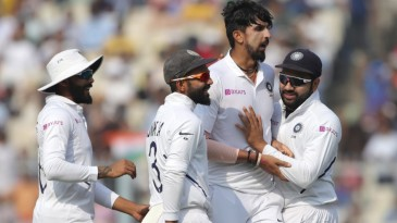Ishant Sharma picked up the first wicket for India on their pink-ball Test debut