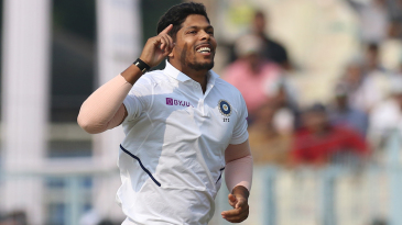 Umesh Yadav is delighted after picking up a wicket