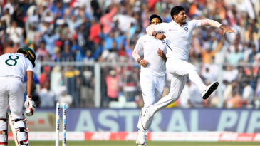 Umesh Yadav exults after bursting through Mohammad Mithun's defences