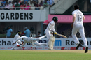 Rohit Sharma throws himself to his right to grab a one-hander off Mominul Haque's edge, India v Bangladesh, 2nd Test, 1st day, Kolkata, November 22, 2019