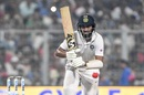 Cheteshwar Pujara plays the ball straight, India v Bangladesh, 2nd Test, 1st day, Kolkata, November 22, 2019