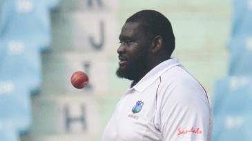 Rahkeem Cornwall prepares to bowl