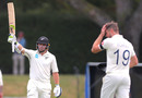 Tom Latham celebrates reaching his half-century, New Zealand v England, 2nd Test, Hamilton, November 29, 2019