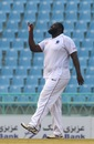 Rahkeem Cornwall celebrates a wicket, Afghanistan v West Indies, only Test, Lucknow, 2nd day, November 28, 2019