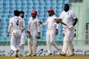 Rahkeem Cornwall walks back after being dismissed by Rashid Khan, Afghanistan v West Indies, only Test, Lucknow, 2nd day, November 28, 2019