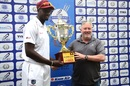Jason Holder poses with the trophy, Afghanistan v West Indies, only Test, Lucknow, 3rd day, November 29, 2019