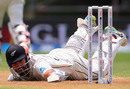 Daryl Mitchell slips and falls as he is sent back attempting a run, New Zealand v England, 2nd Test, Hamilton, November 30, 2019