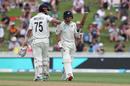 BJ Watling celebrates his 50 runs with Daryl Mitchell, New Zealand v England, 2nd Test, Hamilton, November 30, 2019