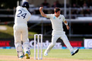 Matt Henry celebrates the wicket of Joe Denly, New Zealand v England, 2nd Test, Hamilton, November 30, 2019