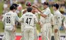 New Zealand celebrate the wicket of Zak Crawley, New Zealand v England, 2nd Test, Hamilton, December 1, 2019