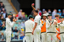 Mitchell Starc acknowledges his five-wicket haul, Australia v Pakistan, 2nd Test, Adelaide, December 1, 2019