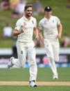 Chris Woakes is pumped after dismissing Tom Latham, New Zealand v England, 2nd Test, Hamilton, December 02, 2019