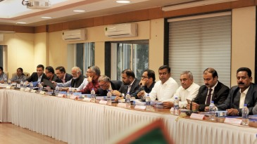 Rahul Johri, Saba Karim, Brijesh Patel and others during the BCCI AGM