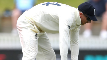 Joe Denly reacts after dropping Kane Williamson