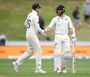 Joe Root shakes hands with Kane Williamson as rain stops play on day 5, New Zealand v England, 2nd Test, Hamilton, December 03, 2019