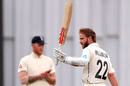 Kane Williamson celebrates reaching his century, New Zealand v England, 2nd Test, Hamilton, December 03, 2019