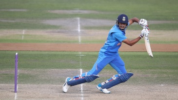 Priyam Garg plays a square drive